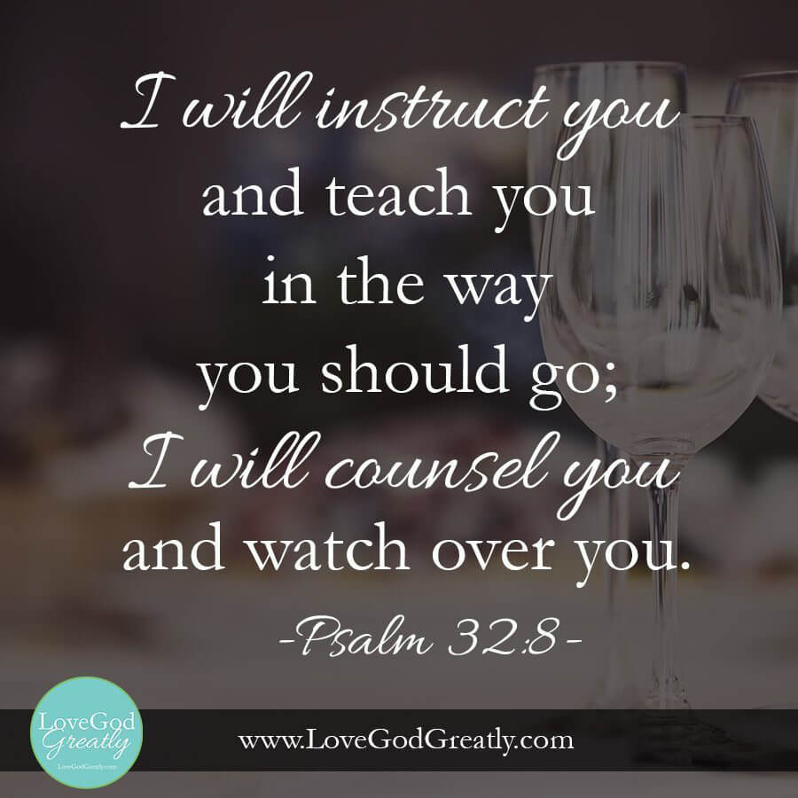 {Esther Study Week 4 Memory Verse} Psalm 32: 8 - I will instruct you and teach you in the way you should go; I will counsel you and watch over you.