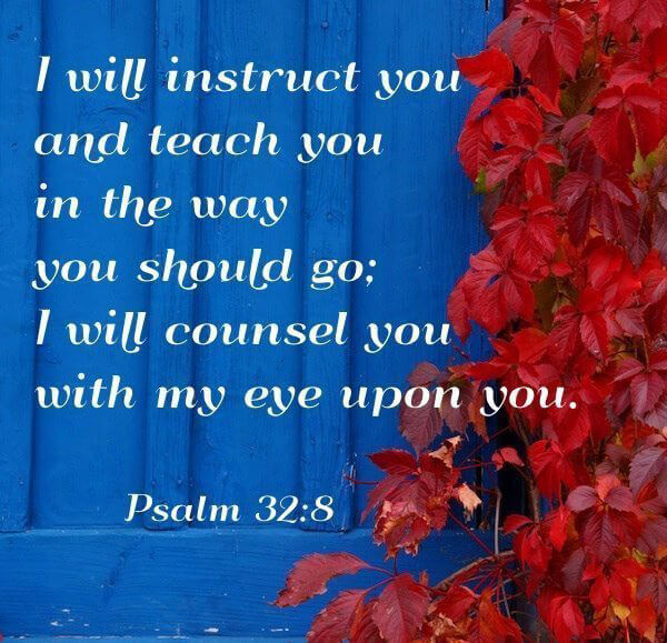 I will instruct you and teach you in the way you should go;   I will counsel you with my eye upon you. ~ Psalm 32 : 8 #LoveGodGreatly