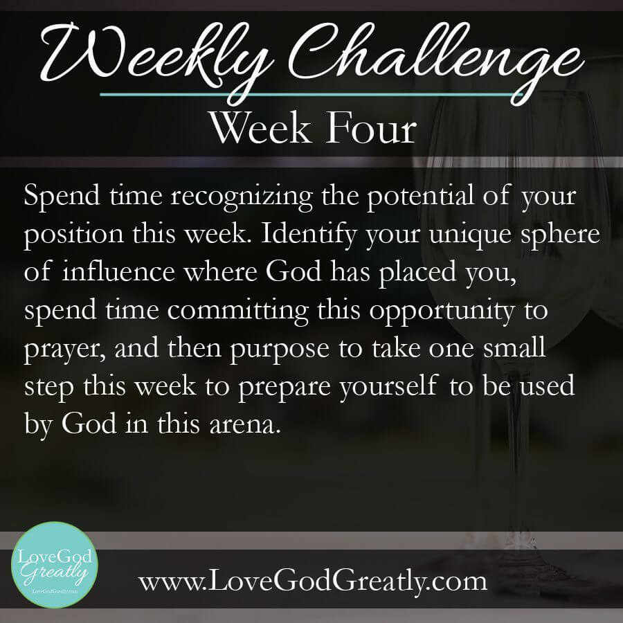 {Esther Study Week 4} Challenge: Spend time recognizing the potential of your position this week. Identify your unique sphere of influence where God has placed you, spend time committing this opportunity to prayer, and then purpose to take one small step this week to prepare yourself to be used by God in this arena.