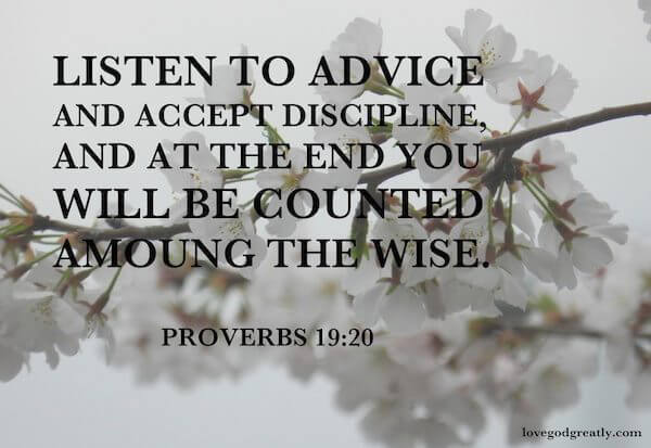 Listen to advice and accept discipline, and at the end you will be counted among the wise. Proverbs 19:20